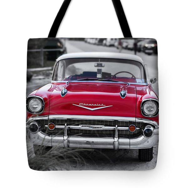 Red Belair At The Beach Standard 11x14 Tote Bag by Edward Fielding