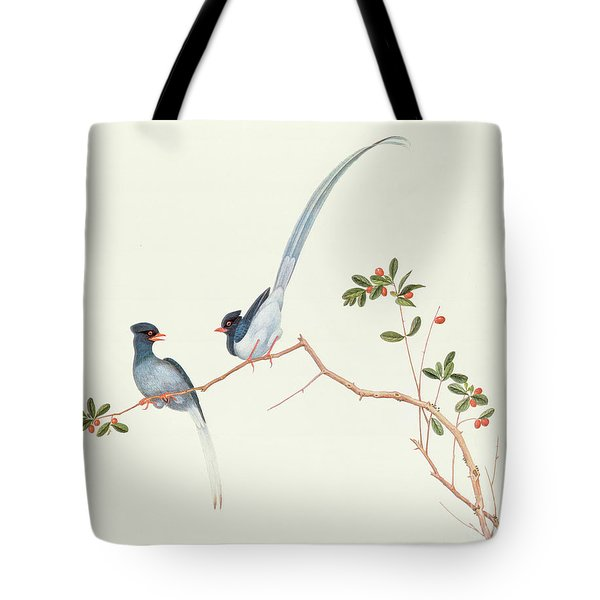 Red Billed Blue Magpies On A Branch With Red Berries Tote Bag by Chinese School