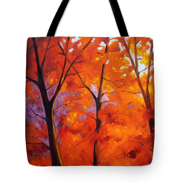 Red Blaze Tote Bag by Nancy Merkle