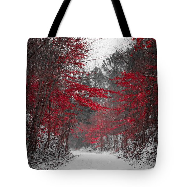 Red Blossoms Tote Bag by Parker Cunningham