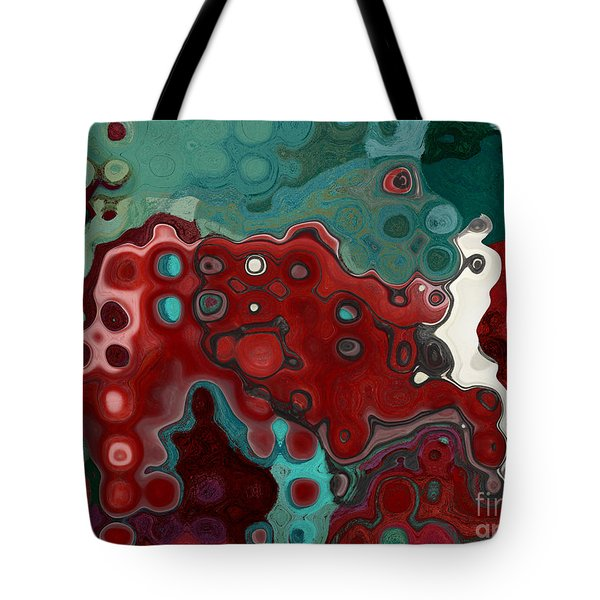 Red Blue Animal Abstract Tote Bag by Aimelle