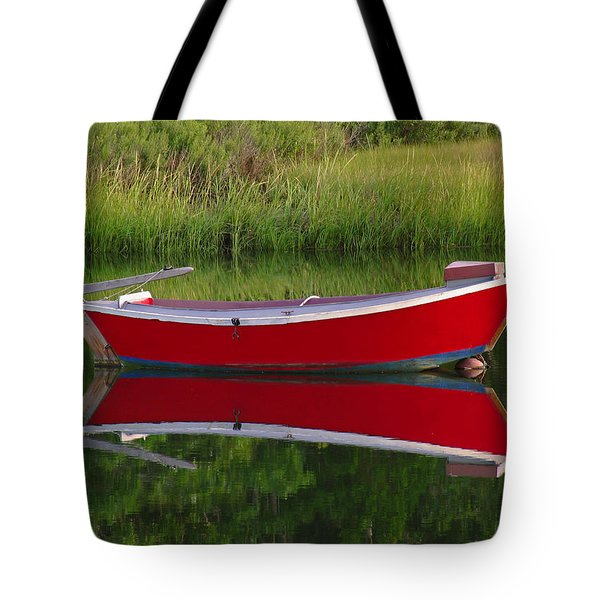 Red Boat Tote Bag by Juergen Roth