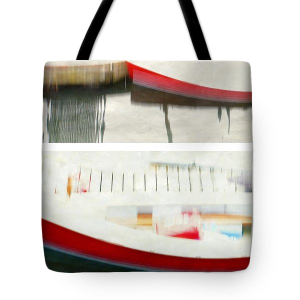 Red Boat at the Dock Tote Bag by Patricia Strand