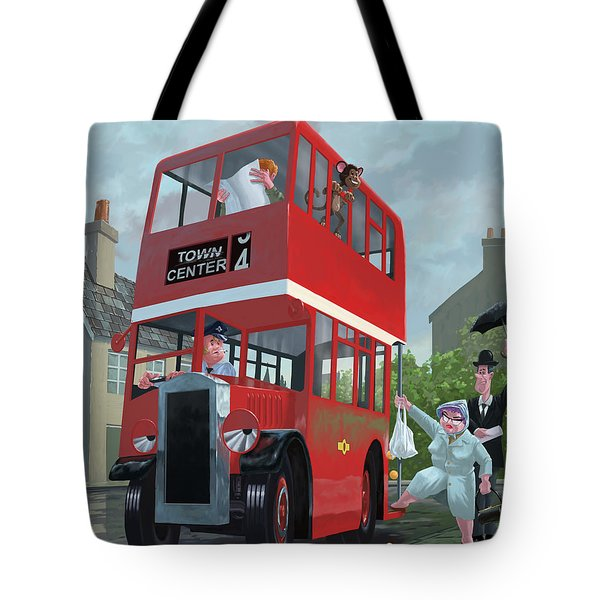 Red Bus Stop Queue Tote Bag by Martin Davey