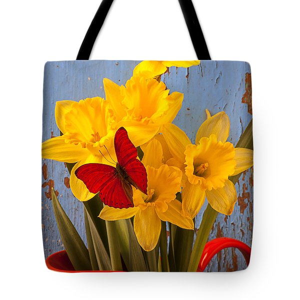 Red Butterfly On Daffodils Tote Bag by Garry Gay
