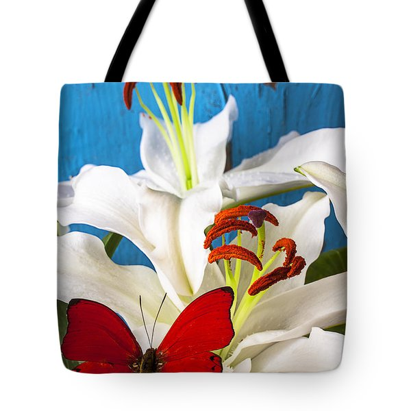 Red Butterfly On White Tiger Lily Tote Bag by Garry Gay