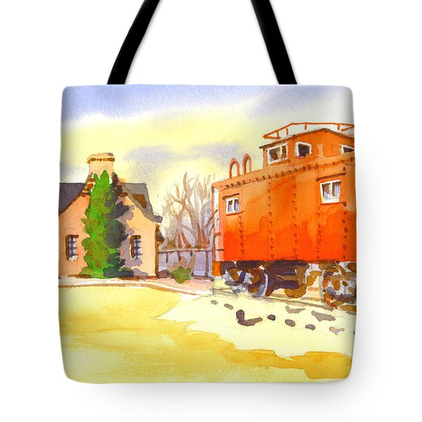 Red Caboose At Whistle Junction Ironton Missouri Tote Bag by Kip DeVore