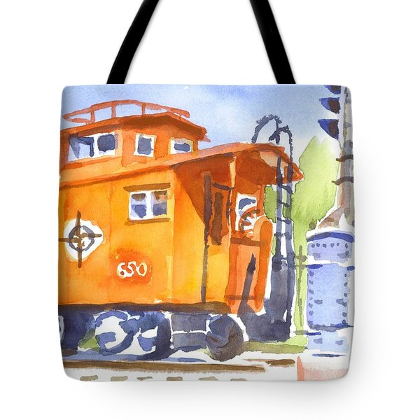 Red Caboose With Signal Tote Bag by Kip DeVore