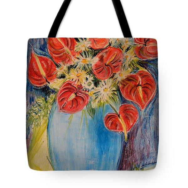 Red Calla Lilies Tote Bag by Caroline Street