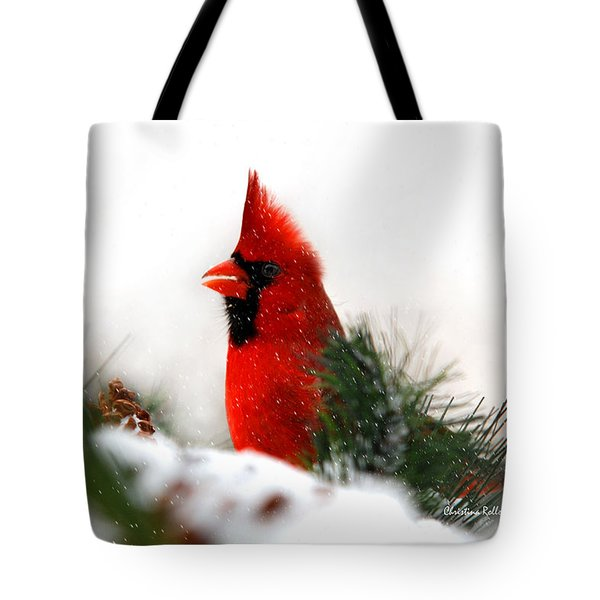 Red Cardinal Tote Bag by Christina Rollo