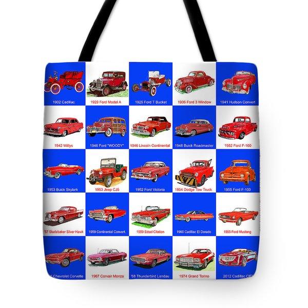 Red Cars Of America Tote Bag by Jack Pumphrey