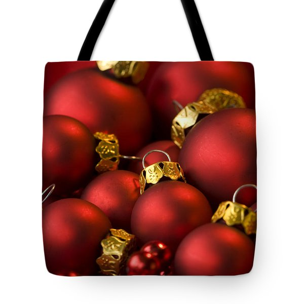 Red Christmas Baubles Tote Bag by Anne Gilbert