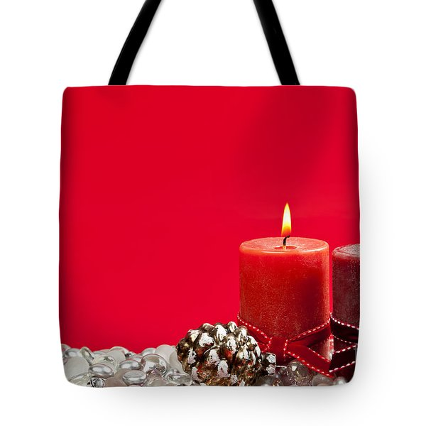 Red Christmas candles Tote Bag by Elena Elisseeva