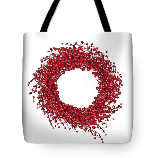 Red Christmas Wreath Tote Bag by Elena Elisseeva