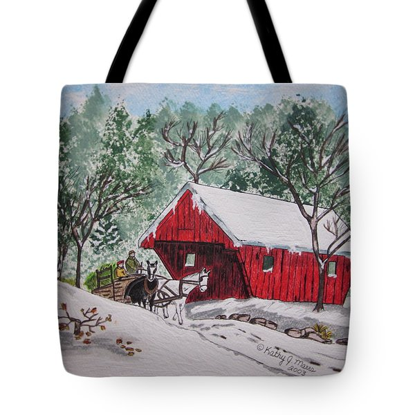 Red Covered Bridge Christmas Tote Bag by Kathy Marrs Chandler