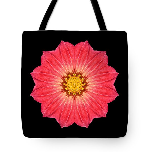 Red Dahlia Hybrid I Flower Mandala Tote Bag by David J Bookbinder