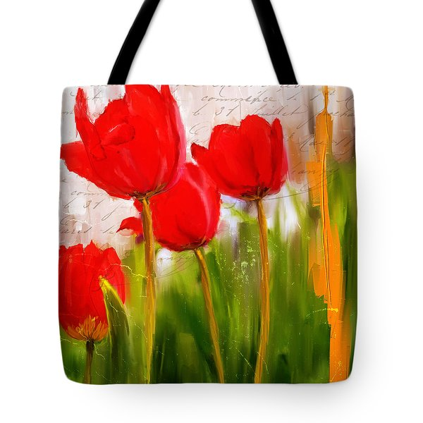 Red Enigma- Red Tulips Paintings Tote Bag by Lourry Legarde
