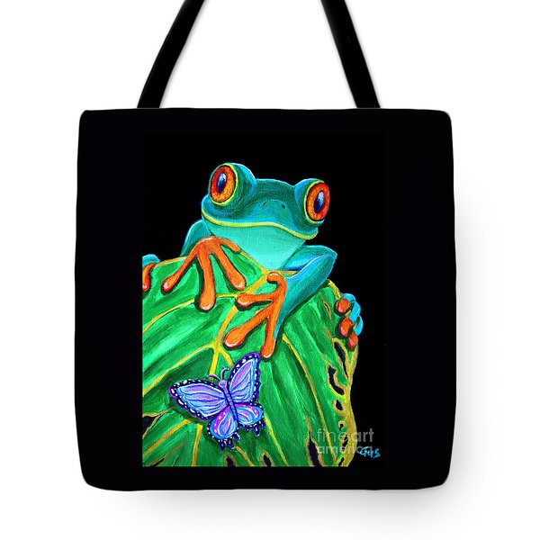 Red-eyed Tree Frog And Butterfly Tote Bag by Nick Gustafson