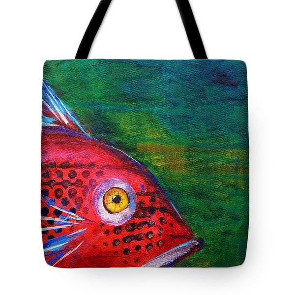Red Fish Tote Bag by Nancy Merkle