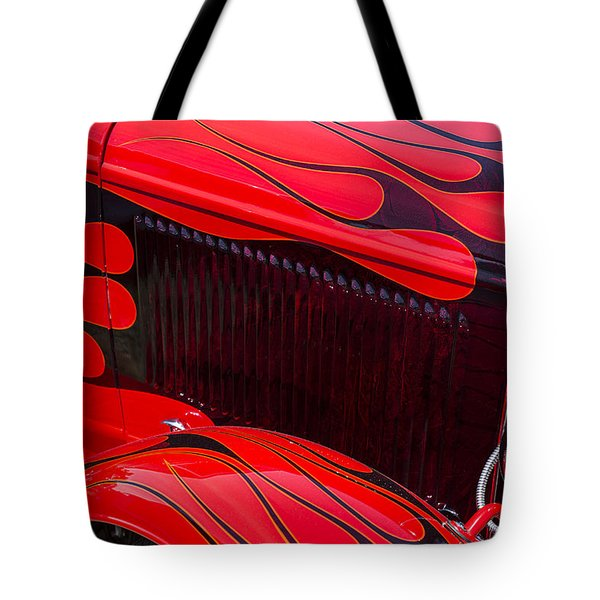 Red Flames Hot Rod Tote Bag by Garry Gay