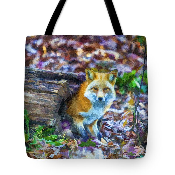 Red Fox at Home Tote Bag by John Haldane