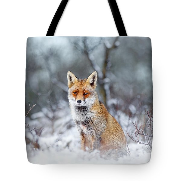 Red Fox Blue World Tote Bag by Roeselien Raimond