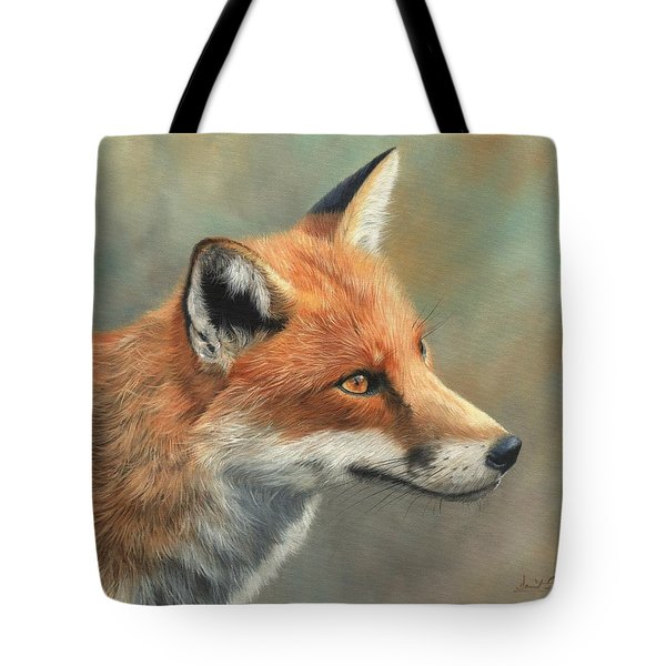 Red Fox Portrait Tote Bag by David Stribbling