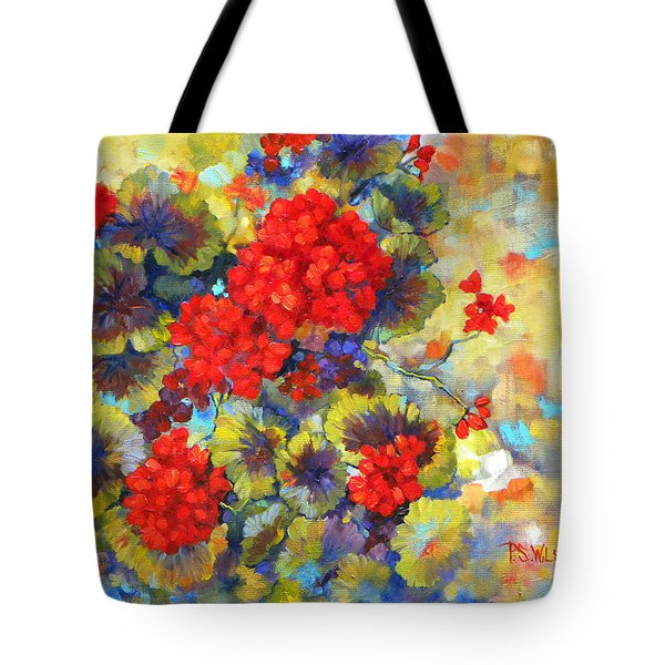 Red Geraniums II Tote Bag by Peggy Wilson