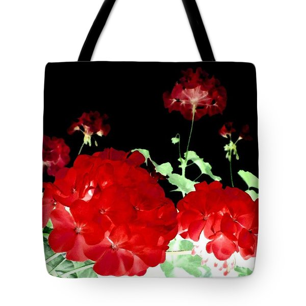 Red Geraniums Tote Bag by Will Borden