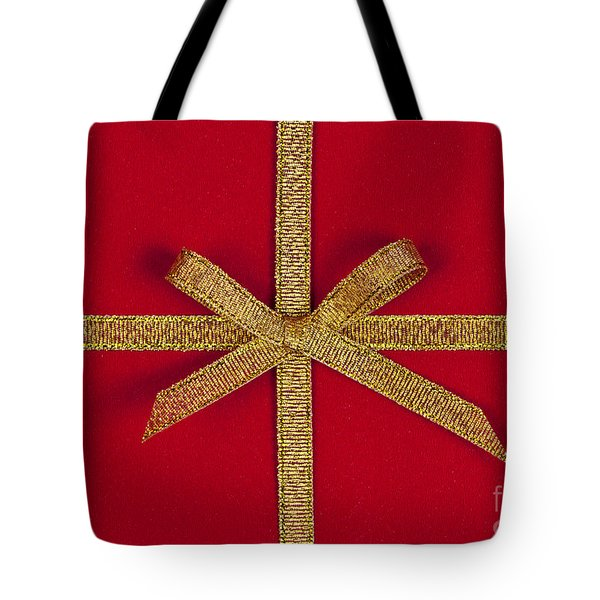 Red Gift With Gold Ribbon Tote Bag by Elena Elisseeva
