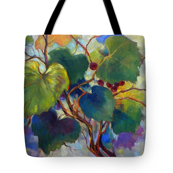 Red Grape Vines Tote Bag by Peggy Wilson