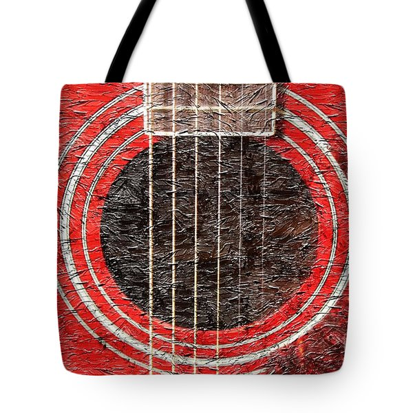 Red Guitar - Digital Painting - Music Tote Bag by Barbara Griffin