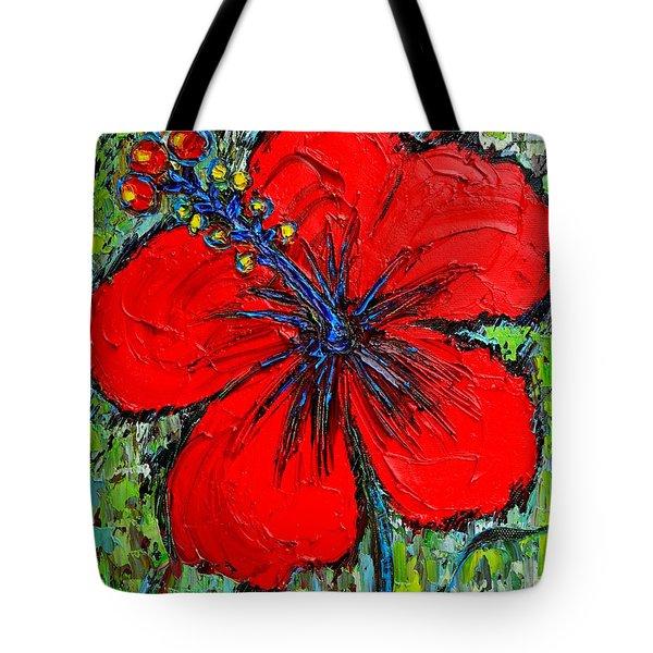 RED HIBISCUS Tote Bag by ANA MARIA EDULESCU