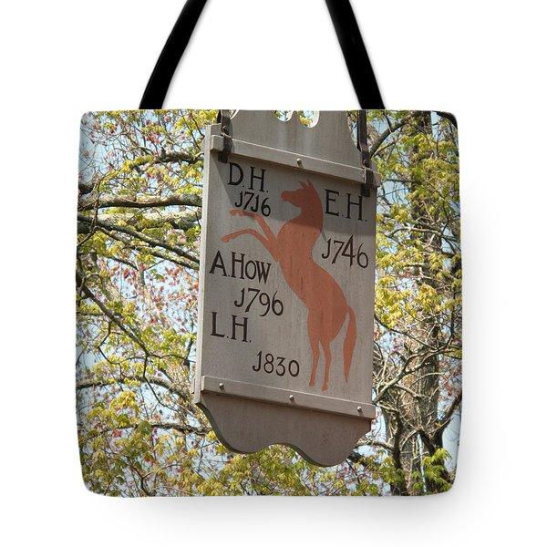 Red Horse Prances Tote Bag by Barbara McDevitt
