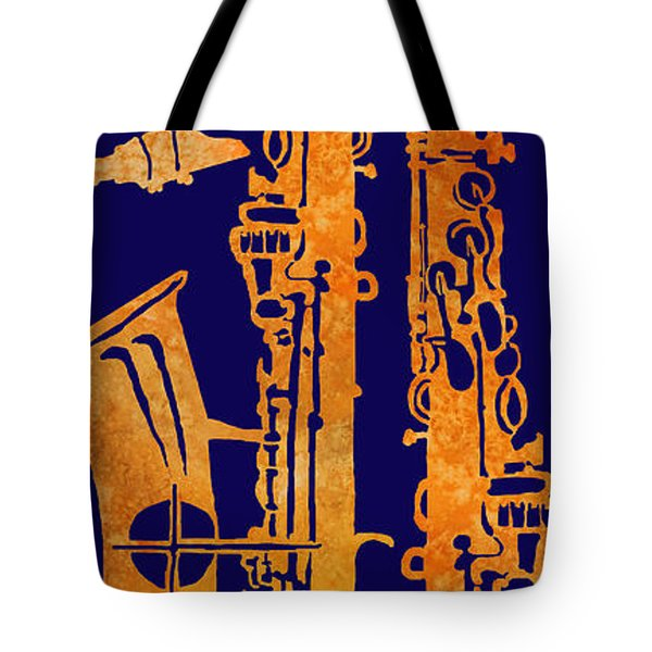 Red Hot Sax Keys Tote Bag by Jenny Armitage