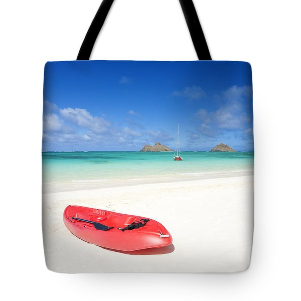 Red Kayak At Lanikai Tote Bag by M Swiet Productions