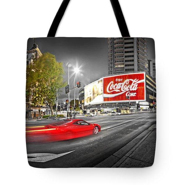 Red Lights Sydney Nights Tote Bag by Az Jackson
