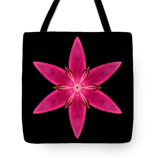 Red Lily I Flower Mandala Tote Bag by David J Bookbinder
