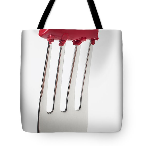 Red Lipstick On Fork Tote Bag by Garry Gay
