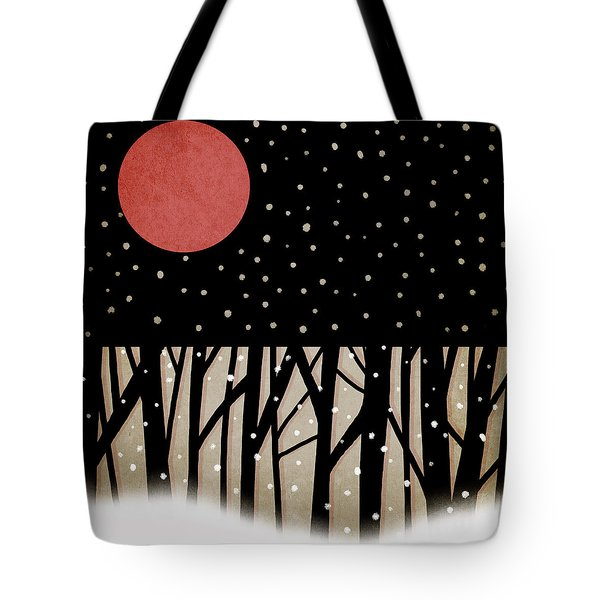 Red Moon and Snow Tote Bag by Carol Leigh