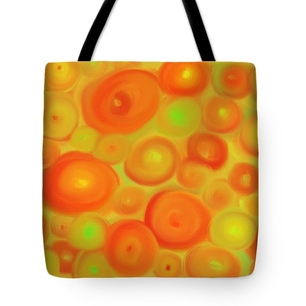 Red-orange Circle Abstract Tote Bag by Karen Buford