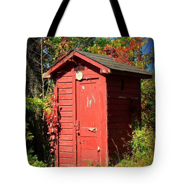 Red Outhouse Tote Bag by Paul Ward