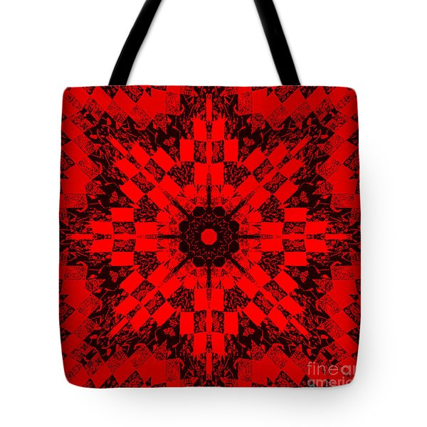 Red Patchwork Art Tote Bag by Barbara Griffin
