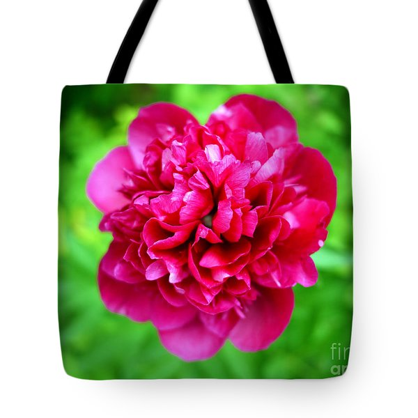 Red Peony Flower Tote Bag by Edward Fielding