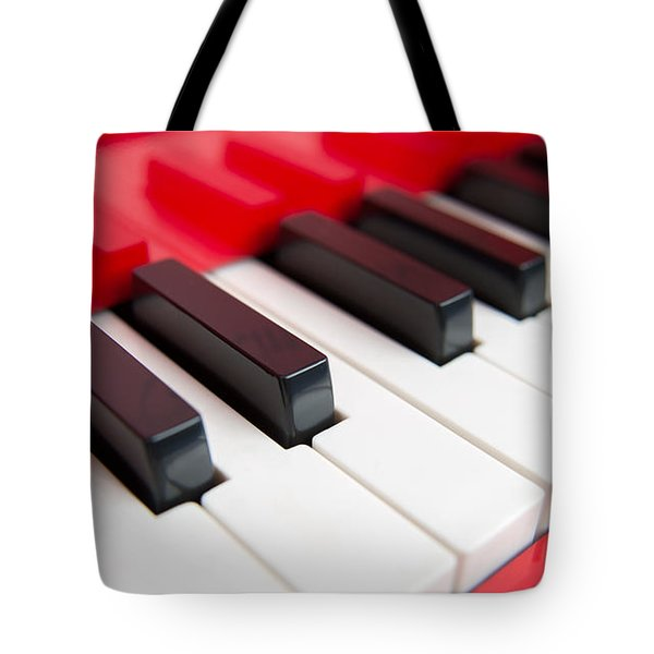 Red Piano Tote Bag by Yew Kwang