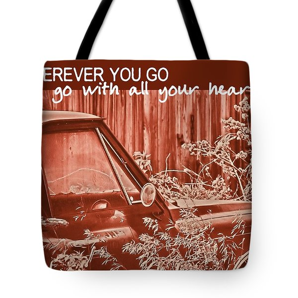 Red Pickup Quote Tote Bag by JAMART Photography