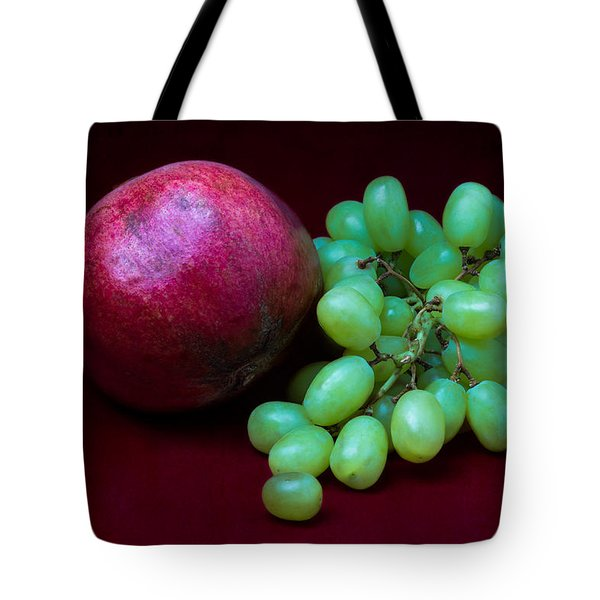 Red Pomegranate And Green Grapes Tote Bag by Alexander Senin