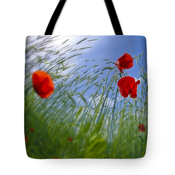 Red Poppies And Blue Sky Tote Bag by Melanie Viola