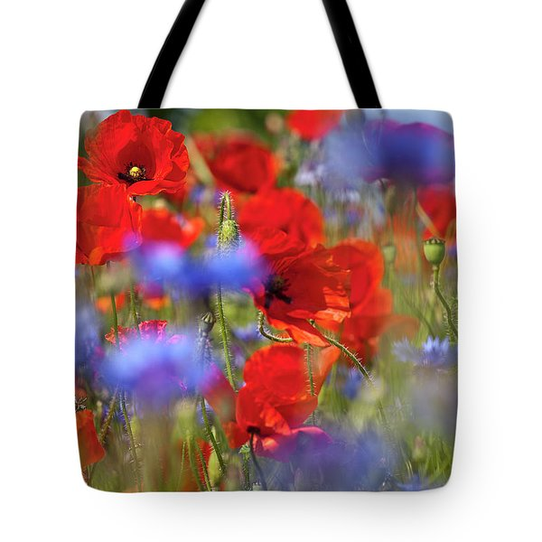 Red Poppies In The Maedow Tote Bag by Heiko Koehrer-Wagner