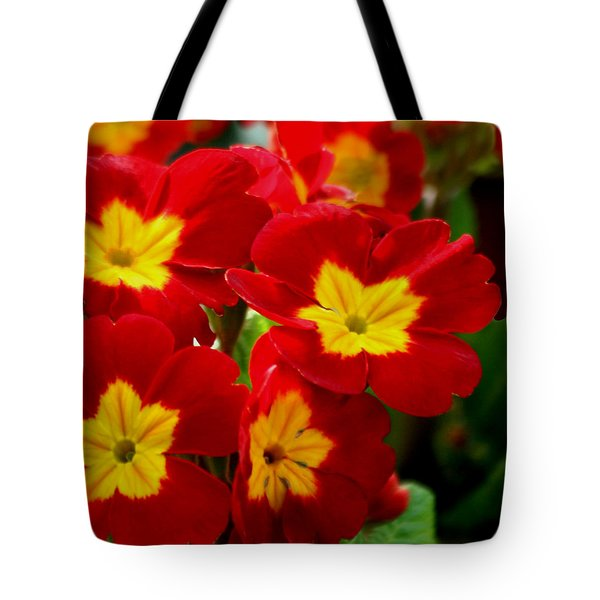 Red Primroses Tote Bag by Art Block Collections